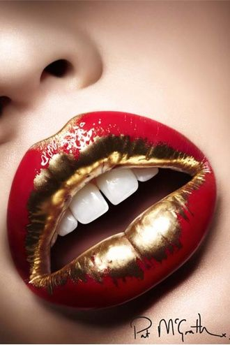 red and gold beauty shots makeup by Pat McGrath @patmcgrathreal  it is like looking at liquid gold and red cherry mixed