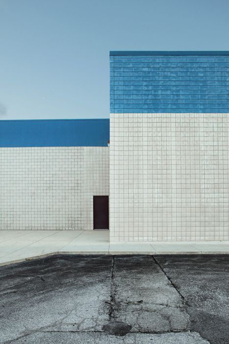 [Blue and white facade]