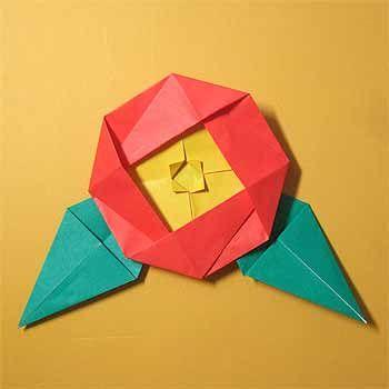 折り紙で椿(つばき)に葉の折り方!簡単な冬の花の作り方 | セツの折り紙処