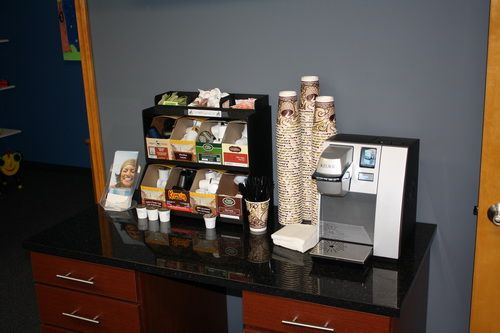 Coffee station cyber cafe business centers pinterest for Coffee bar ideas for office