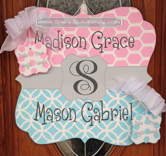 Personalized Twin Baby Sign For Hospital Door by Sparkled Whimsy, Twin door hanger