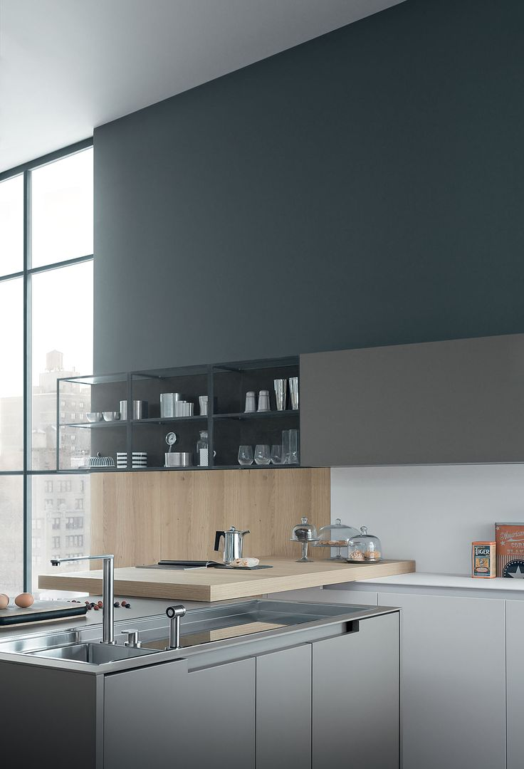 Zampieri - #Fifty kitchen in talcum white extra mat lacquered and dust grey extra mat lacquered.