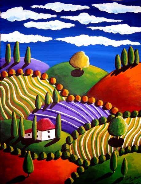 Pintura de arte popular whimsical colorido paisaje toscano