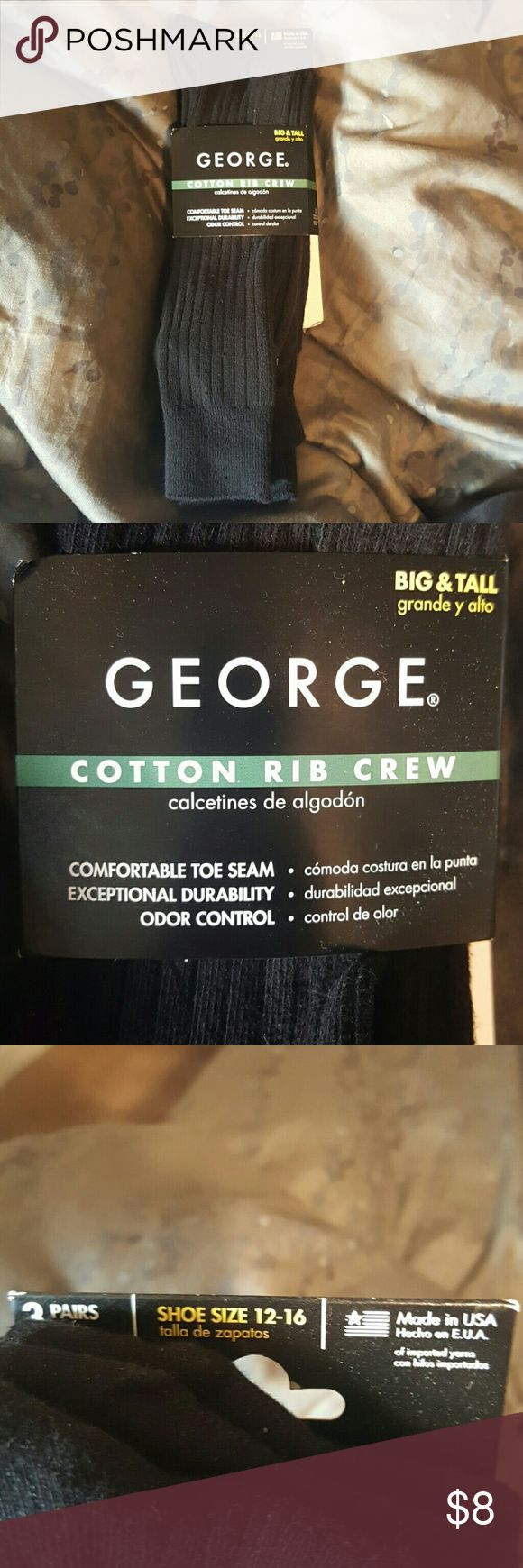 Dress Socks size 12-16 George cotton rib crew socks big and tall size 12 to 16 George Underwear & Socks Dress Socks