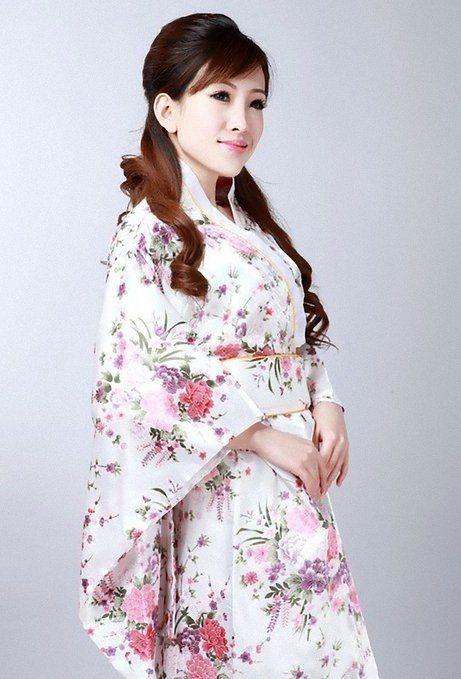 Kimono Robe White Cherry Blossoms Design Japanese