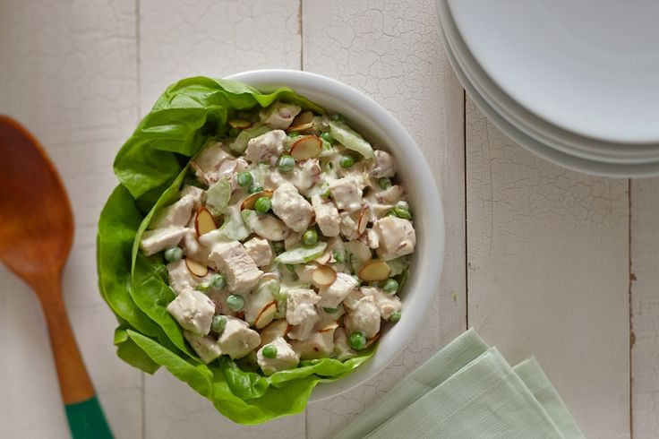 Refreshing chilled chicken salad to serve on a hot summer day! Add ranch dressing instead of mayo for a zesty twist. #recipe