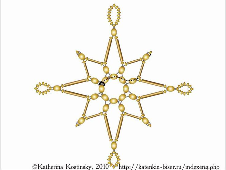 Weaving a Bead-and-Bugle Star. A Cartoon Tutorial