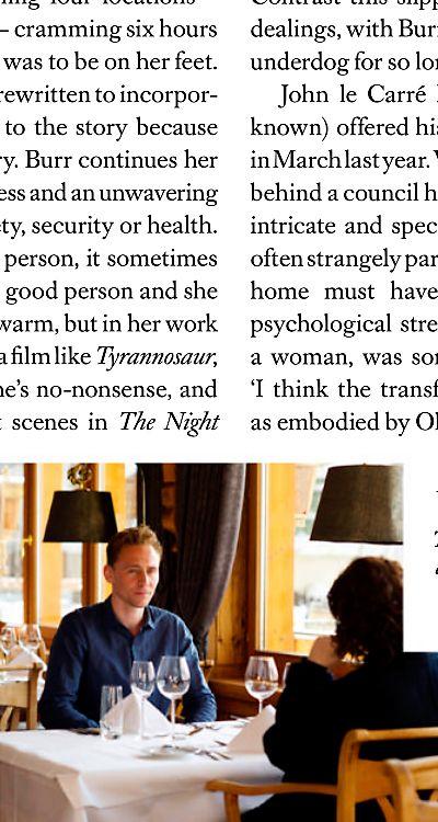 Harper's Bazaar (February 2016): Spy Games. The actor Tom Hiddleston on show his co-star Olivia Colman transformed their latest project, a John Le Carré TV adaptation. Scan magazine (UHQ): http://ww1.sinaimg.cn/large/6e14d388gw1ezoj3lyzhbj21671kwkjl.jpg Source: Torrilla, Weibo