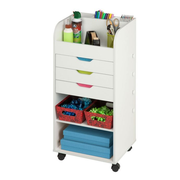 Honey Can Do Rolling Craft Storage Cart With 3 Drawers In White
