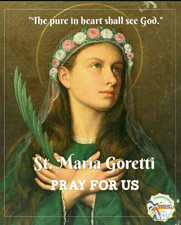 Saint of the day #kabataangkatoliko  July 6: St. Maria Goretti (October 16 1890  July 6 1902) is an Italian virgin-martyr of the Catholic Church and one of the youngest canonized saints. Patron of youth young women purity and victims of rape.   Born on October 16 1890 in Corinaldo in the Ancona Province in Italy her farmworker father moved his family to Ferrier di Conca near Anzio. When he died of malaria Maria's mother had to struggle to feed her children.  Maria's mother brothers and…