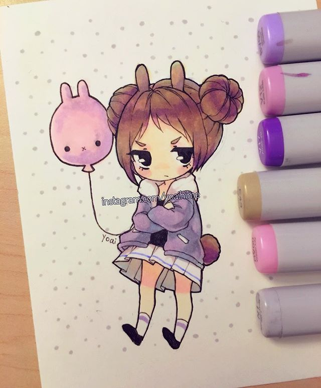 I miss the times when I used to add lots of sparkles to my copic drawings so.....*today buys extra white gel pens for sparkly sparkles* (◎ー◎) - -#copic #multiliner #copicmarkers #cansonpaper - -#chibi #copicart #kawaii #cute #moe #oc #drawing #illustration #art