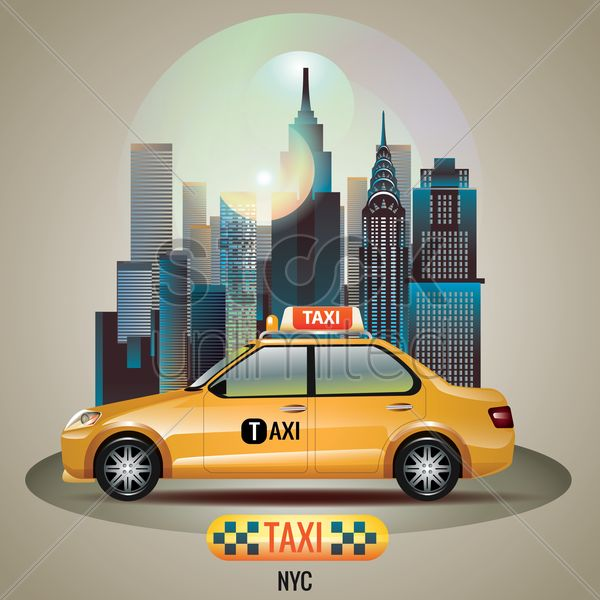 new york city taxi vector graphic