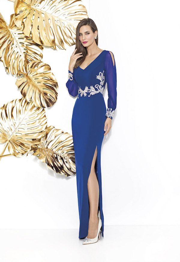 Vestidos de fiesta Cabotine 2018 largo azul con diseño plateado b18c9c18a485