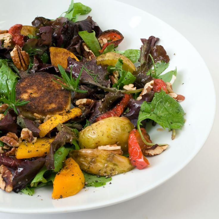 Roasted Potato, Sweet Potato and Red Pepper Salad with a dijon honey vinegrette and lightly breaded goat cheese discs