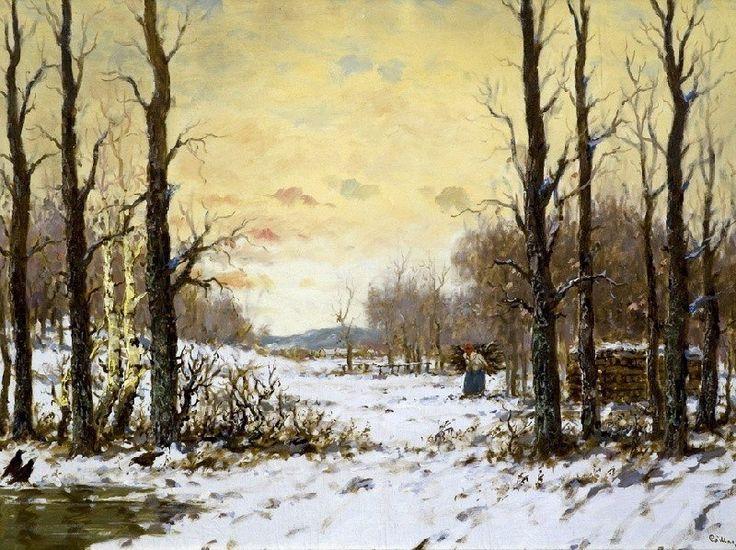 Csillag József magyar festő (1894-1977) Téli erdő