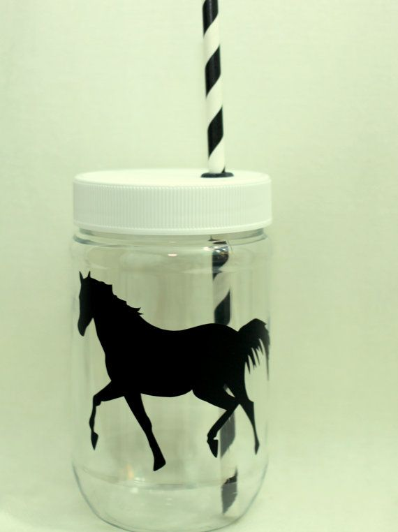 Personalized Plastic Mason Jar Cups  Horse by RememberedOnceMore