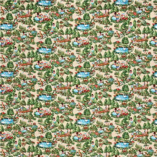 tessuto colorato dal Giappone con Biancaneve e i sette nani, alberi, tronchi, cigni, fiori, ecc.
