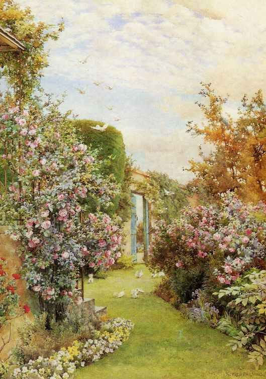 Garden With China Roses By Alfred William Parsons English Artist Illustrator Landscape Painter Designer