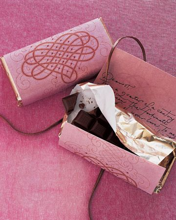 Chocolate Wrapper with a Love Note — Store-bought chocolate repackaged in a homemade wrapper -- the underside of which reveals a handwritten love note -- tastes doubly delicious.: Idea, Chocolates, Candy Bar, Valentines Day, Martha Stewart, Valentine S, Chocolate Bar