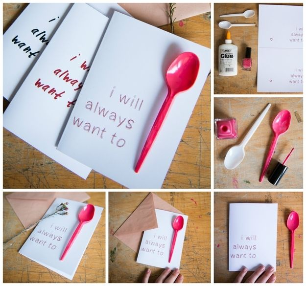 40 Unconventional Valentines Day Cards: I Will Always Want to Spoon Card