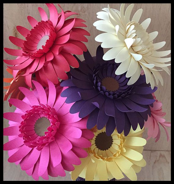 Colorful Gerbera Daisy Bouquet Set of 8  Bright Cheerful