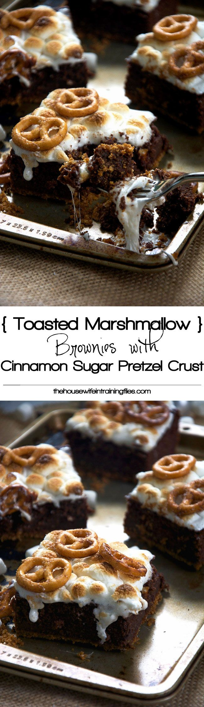 Toasted Marshmallow Brownies with Cinnamon Sugar Pretzel Crust and the best part is, it's gluten-free!