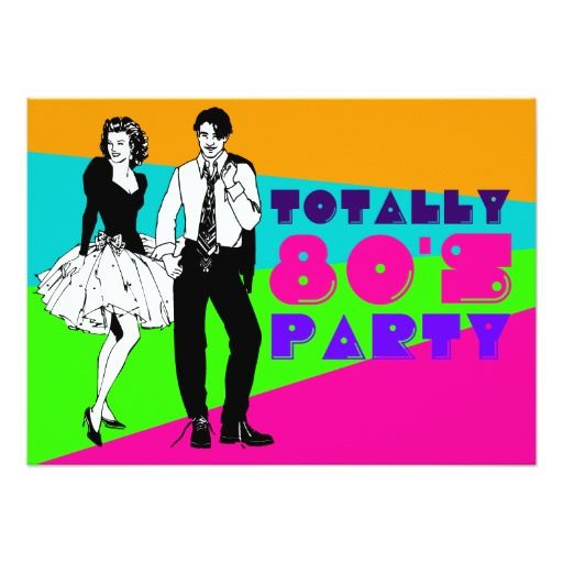 Einladungskarten, Party Einladungen, 80er Party