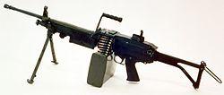Una de las primeras versiones M249 de la Minimi en 1985. Ametralladora ligera fabricada en Bélgica