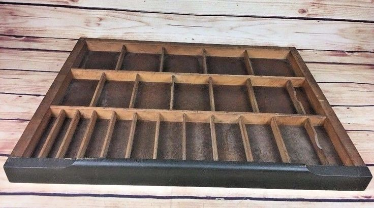 VINTAGE Printers Type Cabinet Drawer Shadow Box Tray Wood 21.75 X 16.5 24 DRAWER #UNKNOWN