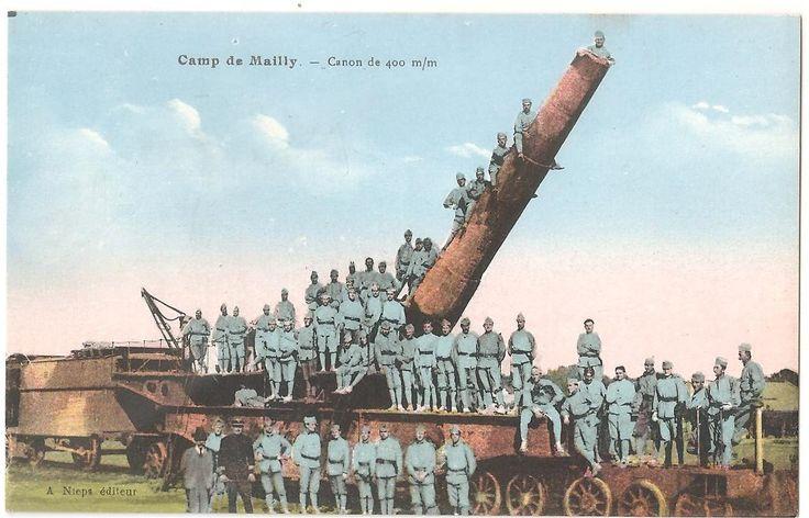 """Открытка """"ВОЕННЫЙ ЛАГЕРЬ. Артиллеристы с пушкой"""". Франция 1920 г."""