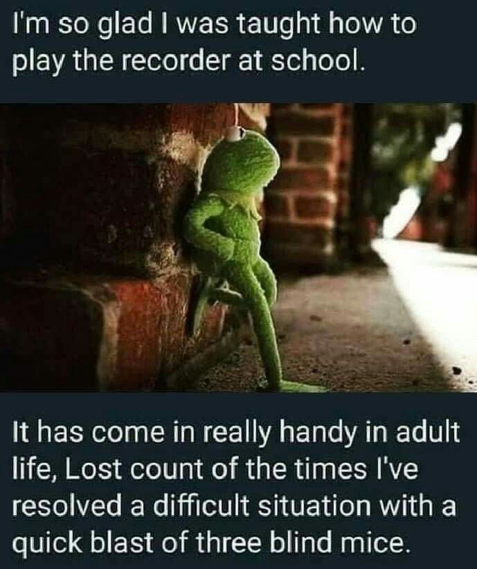I M So Glad I Was Taught How To Play The Recorder At School Three Blind Mice Just For Laughs Bones Funny