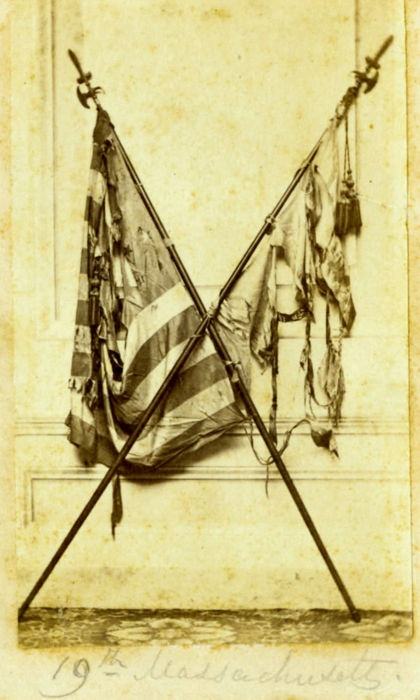 ca. 1860's, 19th Massachusetts (Infantry) unit flag and United States flag recovered from battlefield: Flag Recovered, American History, 19Th Massachusetts, Massachusetts Infantry, American Civil, Civil War, War Flags