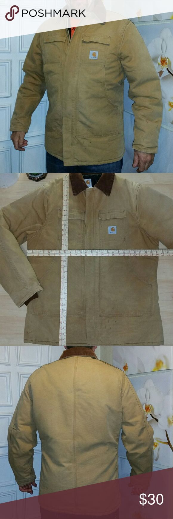 "Carhartt work winter coat Good to great condition. Has been well washed, clean & ready-to-wear. Has light overall staining... Nothing too heavy, great work coat!  Model is 6'1"" & 200 plus pounds. Has snaps around underside of collar, may have came with a hood Bundle and save 15%  May have additional shipping weight cost, depending on bundled items...  See other listings for closer pictures of staining... Carhartt Jackets & Coats"