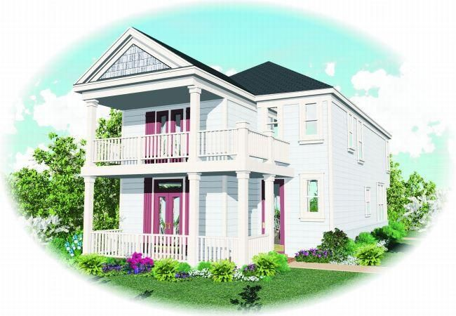 House plan 053 00045 charleston plan 1 802 square feet for Charleston house plans narrow lots