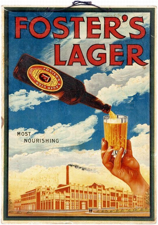 C1930s advertising poster/showcard 'Foster's Lager - Most Nourishing', with a view of the Abbotsford Brewery and 'Victoria Bitter' on reverse. Artwork by James Northfield, printed by Sands & McDougall Offset Printers, Melbourne,