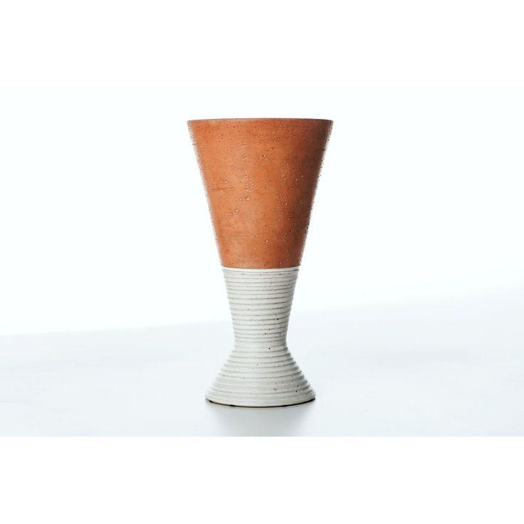 Vaso produttore La Bottega - Italia anni 70 colori bianco marrone in ceramica
