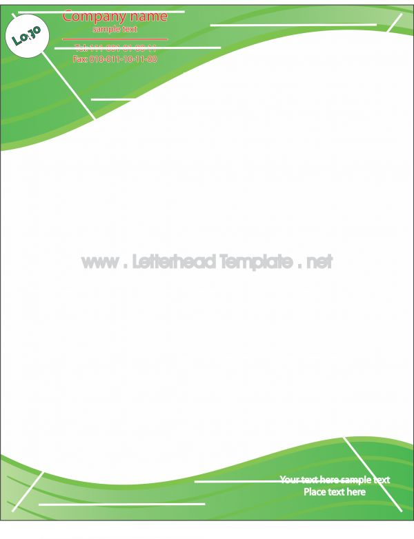 Green waves letterhead template