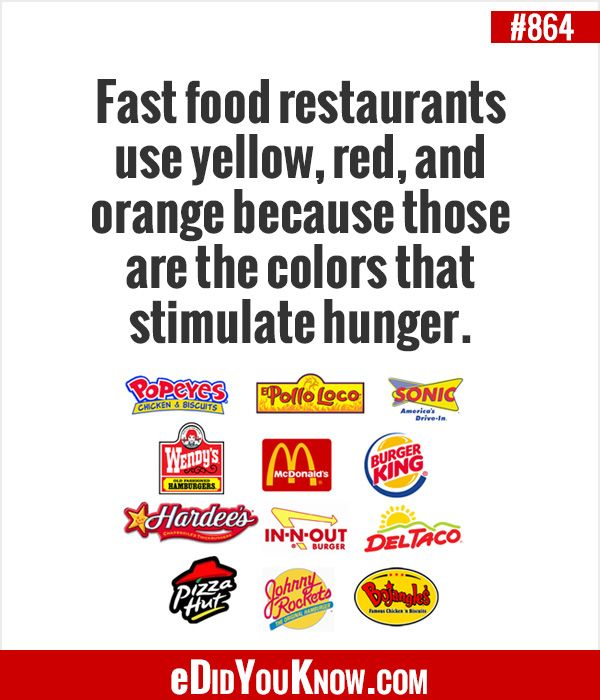 Fast food restaurants use yellow, red, and orange because those are the colors that stimulate hunger. http://edidyouknow.com/did-you-know-864/