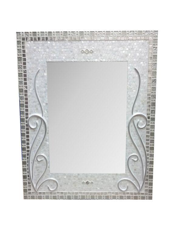 Wall Mirror   Decorative Mirror   Bathroom Mirror   Rectangle Mosaic Art  Mirror   Bath Mirror   Mother Of Pearl U0026 Metal