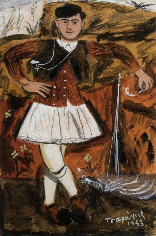 ΓΙΑΝΝΗΣ ΤΣΑΡΟΥΧΗΣ Φουστανελοφόρος από την Αράχωβα με πουλόβερ χωριάτικο, 1943 Ιδιωτική Συλλογή