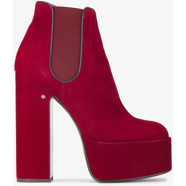Laurence Dacade Red Suede 160 platform chelsea boots ($1,005) ❤ liked on Polyvore featuring shoes, boots, ankle booties, suede ankle boots, suede bootie, ankle boots, red high heel boots and red ankle boots