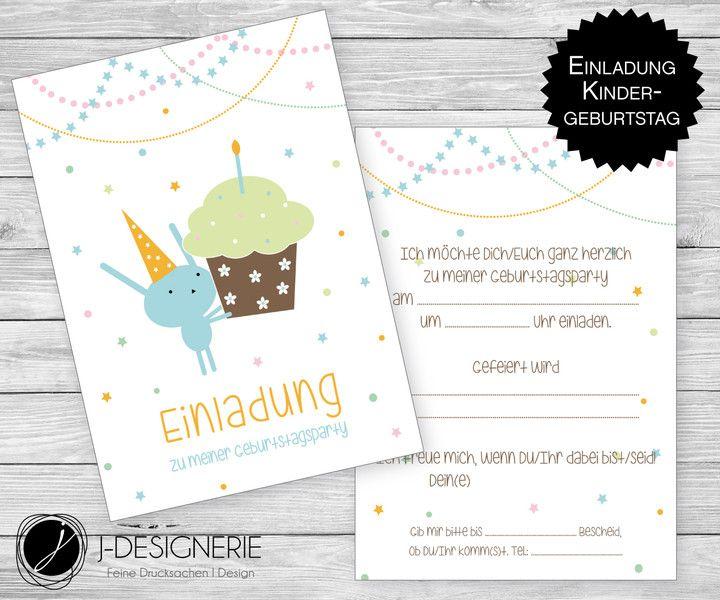 6x Einladung ♥ GEBURTSTAG ♥ Hase Inkl. Umschlag