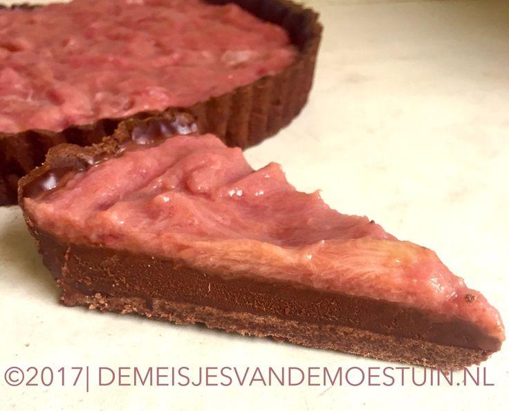 romige chocolade rabarber taart