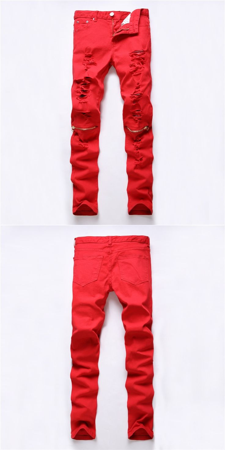 2016 New Red Ripped Knee Hole Club Jeans Men Famous Brand Slim Fit Cut Destroyed Torn Jean Pants For Male Homme