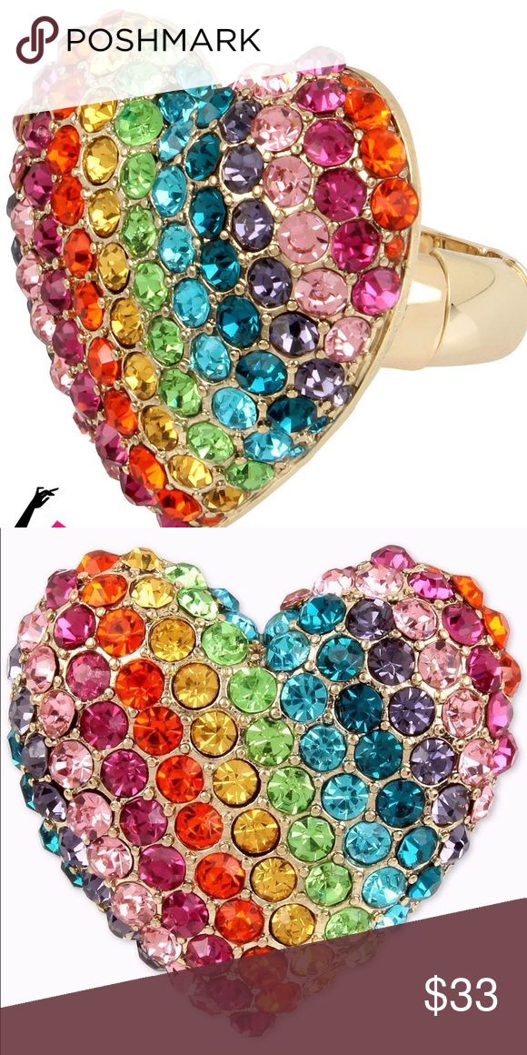 Betsey Johnson Rainbow Heart Ring Colorful Pavé Crystal Encrusted Rainbow Heart Ring  MEASUREMENT: STRETCH Bought in Department store 100% NEW-AUTHENTIC---->See My Seller Feedback :) Retails for $45+TAX  ❌NO TRADING  POSH AMBASSADOR  FAST SHIPPER  RATED SELLER  10% SELLER TAKE A LOOK AT MY FEEDBACK Betsey Johnson Jewelry Rings