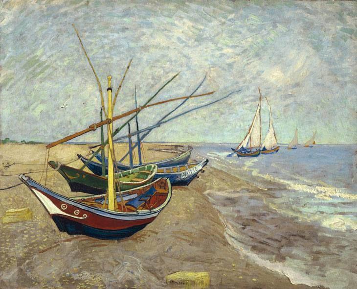 Saintes-Maries Sahilinde Balıkçı Tekneleri / Fishing Boats on the Beach at Saintes-Maries