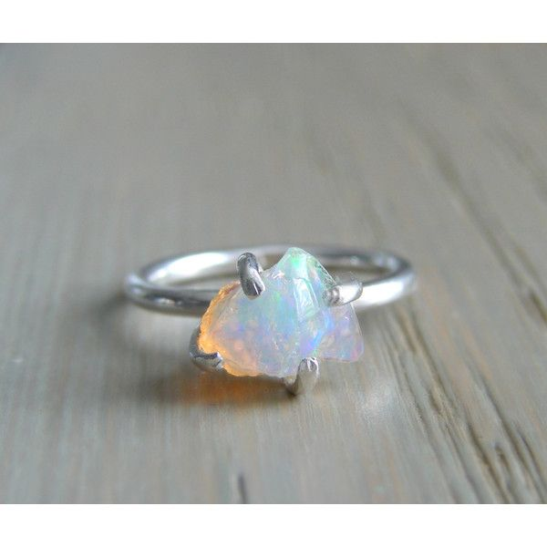Raw Opal Ring, Rough Fire Opal Jewelry, October Birthstone, Natural... ($225) ❤ liked on Polyvore featuring jewelry, rings, hand crafted jewelry, opal birthstone jewelry, wedding anniversary rings, opal jewelry and birthstone rings