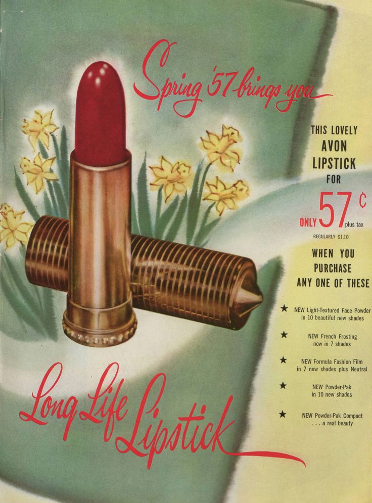 """A red lip is always on trend. Check out this vintage Avon ad from 1957 featuring """"Long Life Lipstick."""" Get the look with Avon's newly formulated Extra Lasting Lipstick!"""