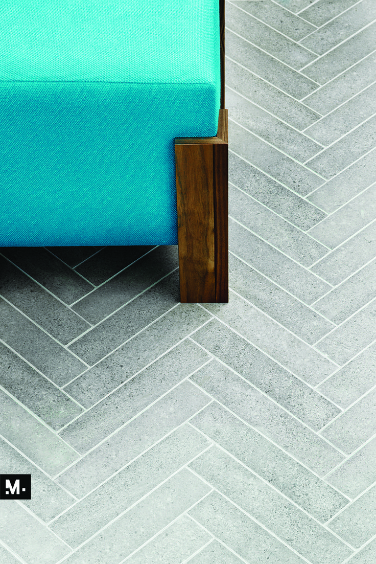 MUDTILE floor or wall stone tile / pattern name: Tile / color: Ash (grays) / 7 x 21 in / Distributed by ciot.com (Canada) mudtile.com
