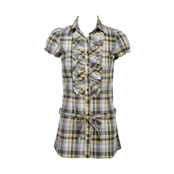Plaid Tie Tunic ($11) ❤ liked on Polyvore featuring tops, tunics, shirts, blusas, plaid shirts, ruffle sleeve shirt, folding shirts, plaid ruffle shirt and folding sleeves shirt